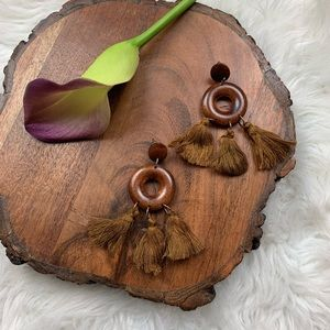 Brown Fringe Tassel Wood Hoop Earrings